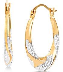 two-tone swirl hoop earrings in 14k gold & white rhodium-plate