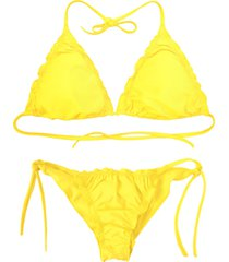 biquãni cortininha divance amarelo calcinha ripple 614 - amarelo - feminino - poliamida - dafiti