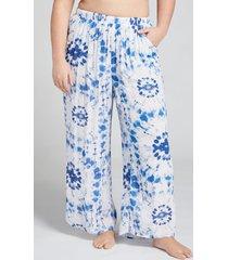 lane bryant women's wide leg cover-up pant 14/16 navy tie dye