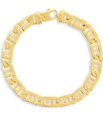 saks fifth avenue men's 14k yellow gold window link bracelet/8.35mm