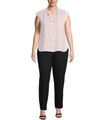 anne klein plus size ruffled split-neck blouse