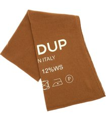 dondup camel-colored scarf with gold print