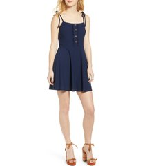 women's speechless tie shoulder eyelet fit & flare dress, size x-large - blue