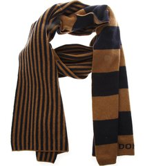 dondup bicolor dondup striped scarf in wool