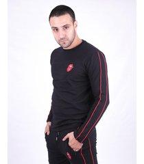 buzo negro emete clothing stones strippes
