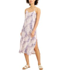 style & co petite printed side-slit slip dress, created for macy's