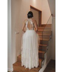 suknia ślubna boho z dekoltem halter / olga