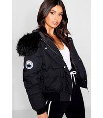 ingekorte zwarte gewatteerde faux fur jas met capuchon, black