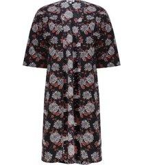 kimono estampado flores color negro, talla 16