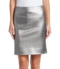 coated metallic jersey pencil skirt