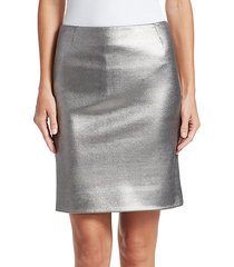 coated metallic jersey pencil skirt