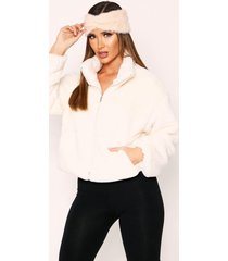 faux fur quilted zip front jacket, cream