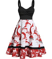 christmas santa claus elk print twist front skater dress