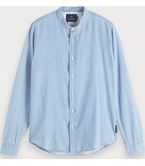 scotch & soda collarless shirt regular fit