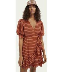 scotch & soda striped tencel™-blend wrap dress