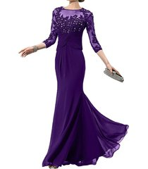dislax 3/4 sleeves lace appliques chiffon mother of the bride dress prom gowns p