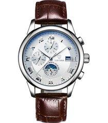 reloj mecánico reloj automático de seis puntas-blanco