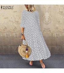 zanzea ocasional de las mujeres del club de vacaciones de playa maxi kaftan vestido de tirantes polka dot vestido largo -blanco