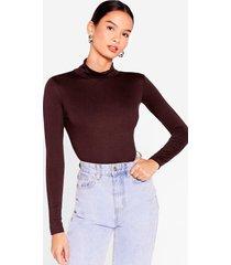 womens what in the turtleneck black high-leg bodysuit - chocolate
