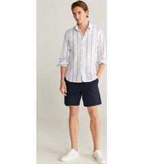 gestreept linnen slim-fit overhemd