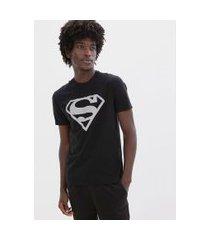 camiseta estampa escudo superman refletivo | dc comics | preto | p