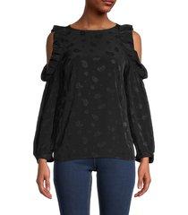 maje women's printed cold-shoulder top - black - size 2 (m)