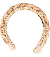 gucci braided headband - brown