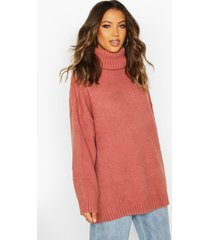 tall oversized roll neck premium sweater, pink