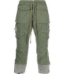 greg lauren distressed cropped cargo pants - green