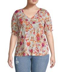 plus floral smocked trim blouse