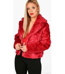 plus faux fur coat, red