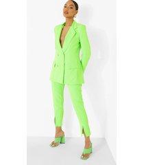getailleerde neon broek met split, neon-green