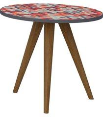 mesa de canto decorativa lyam decor retrã´ estampa vermelho - vermelho - dafiti