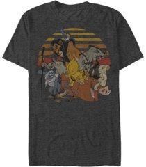 disney men's lion king group sunset stripe vintage short sleeve t-shirt