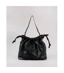 bolsa de ombro feminina grande com nó preta