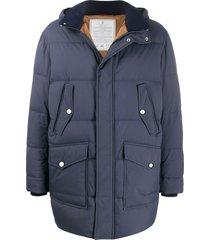 brunello cucinelli hooded padded coat - blue