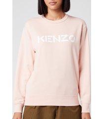 kenzo women's classic fit sweatshirt kenzo logo - faded pink - l