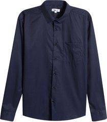 camisa m/l con bolsillo color azul, talla l