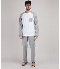 pijama masculino raglan com bolso manga longa off white