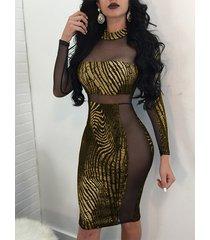 equipo dorado patchwork cuello malla brilho vestido