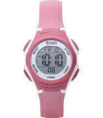 orologio multifunzione con cinturino in silicone rosa scuro cassa in acciaio per donna