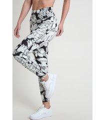 calça legging feminina esportiva ace estampada floral com proteção uv50+ off white