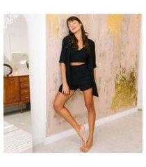 conjunto top pijama + karícia íntima + preto