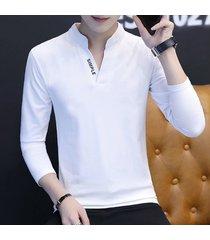 camiseta de manga larga de solapa de algodón para hombre, fina.