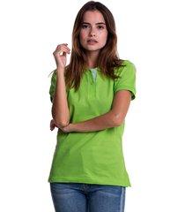 camiseta polo hamer, básica de mujer, casual, para uso diario, clasica color verde limon