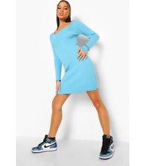 geribbelde gebreide jurk met vierkante hals, blue