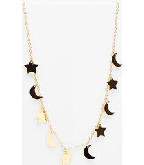 womens cosmic changes moon and stars necklace - gold