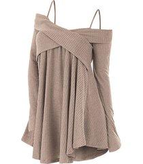 cold shoulder crisscross tunic sweater