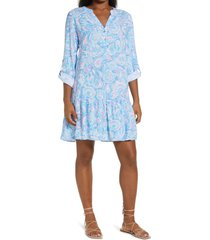 lilly pulitzer(r) charlee floral long sleeve tunic dress, size large in zanzibar blue fish kiss at nordstrom
