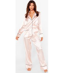 womens but first sleep contrasting satin pajama set - champagne